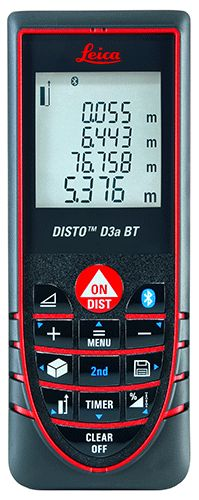 """New: Now the Leica DISTO™ D3a is also available with BLUETOOTH®. Due to this technology, measurement results can be wirelessly and accurately transferred to Pocket PCs and PCs. Furthermore, the Leica DISTO™ D3a BT is equipped with """"Smart Horizontal Mode™, tilt sensor, calculation possibilities for rectangular and triangular areas, volumes, room dimensions and various types of Pythagoras functions."""