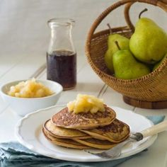 Gluten Free Pear Date Pancakes - sugar and dairy free too.  A healthy and delish way to start the day.