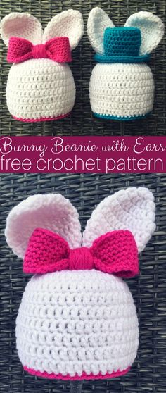 Bunny Beanie with Ears. How cute and lovely the baby looks in this crochet baby bunny beanie with ears! And it's easy to do.