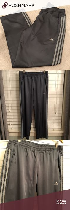 Men's Adidas Climalite Gym Pants Athletic 3 Stripe Mesh lined gym pants, has 2 pockets and zippers on both sides. Size large. Gray. Like new condition.   Happy to bundle, I will promptly answer any questions :) Follow me to see new items.   Clean, non smoking home. adidas Pants Sweatpants & Joggers