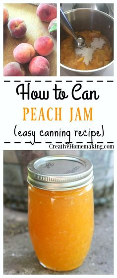 How to can homemade peach jam with either liquid pectin or powdered pectin. Easy canning recipe.