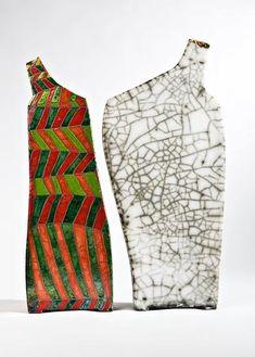 'Reversible - Afraid' by German ceramic artist Ute Großmann (b.1960). White stoneware clay, glazes, raku firing, H: 48 cm. via the artist's site