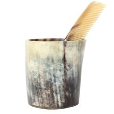Cup and Comb in Horn by Carl Auböck | From a unique collection of antique and modern desk accessories at http://www.1stdibs.com/furniture/more-furniture-collectibles/desk-accessories/
