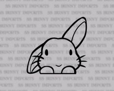 Peeking cute half lop bunny vinyl sticker; rabbit laptop decal / car decal / phone decal, glossy black