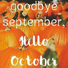 Goodbye September Hello October Quote With Pumpkins October Hello October  October Quotes Goodbye September Welcome October Goodbye September Hello  October ...