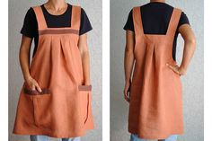 Natural Linen Overalls Linen Apron Dress Tunic Linen Apron Japanese Apron Full apron Womens Aprons gift for wife Pinafore apron Gift for her READY TO SHIP This overalls-dress made in the apron style with 2 original pockets. Dress decoration is made using natural cotton webbing. Crafted with 100% natural linen. Ideal for use as every day dress. Size: Width - 27 (69cm) Height without straps - 28 (71cm) Height with straps - 36 (91cm) Size of pockets - 8 1/2 * 10 (22 * 25cm) Care: Machi...