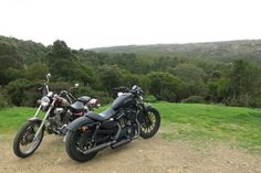 Customized Harley davidson sportster and Virago Yamaha in Sardinia landscape