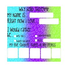 ❤ liked on Polyvore featuring surveys, backgrounds, templates, pictures and fill ins