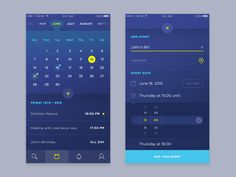 Dribbble - Calendar/Event UI by Daniel Klopper