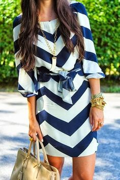 Stribed summer dress + necklace + cool and casual look + Navy and white chevron dress