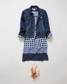 Complement denim with a navy print dress and finish with tan slides.