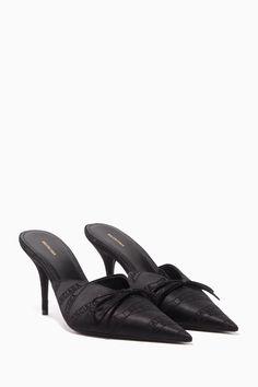 Shop Balenciaga Black Jacquard Logo Satin Mules for Women Formal Shoes, Casual Shoes, Sneakers Fashion, Fashion Shoes, Cinderella Shoes, Fall Shoes, Luxury Shoes, Beautiful Shoes, Shoe Collection