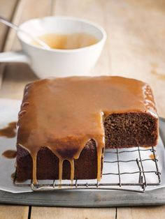 Sticky date cake with toffee sauce from donna hay magazine. Sticky Date Cake, Sticky Toffee Pudding, Sticky Toffee Cake, Cupcakes, Cupcake Cakes, Baking Recipes, Cake Recipes, Dessert Recipes, Donna Hay Recipes Baking