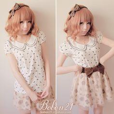 BOBON21 2013夏季新款 双层娃娃领 迷你长颈鹿泡泡袖T恤 T0797-淘宝网