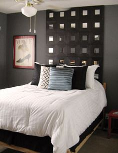 Ikea mirrors headboard...could also be done simply by painting the wall behind the bed black, and attaching square mirror tiles (from Michaels Craft Store) to the wall with industrial strength double-stick velcro!  Bet it would be a lot cheaper than what Ikea charges.