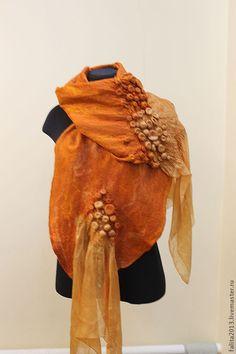 Купить Сентябрь - рыжий, палантин ручной работы, модный аксессуар, осенняя мода…