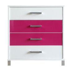 URBAN 4 Drawer Tallboy (Snowdrift White), Middle 2 Drawers (Hot Pink Gloss)