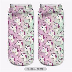 Ombre Unicorn Emoji Socks