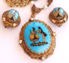 W Germany Victorian Cameo Rhinestone Pendant Necklace Earring Set- Charming Victorian Elegance!