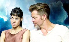 Sofia Boutella and Chris Pine GIF