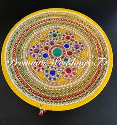 YADNESH Designer Stainless Steel Pooja Thali Hand Made Pooja Thali with Two Kumkum Holder Dipawali Makar Sankranti Spacial Decorative Pooja Thali.