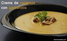 Crema de calabaza con garbanzos - http://www.thermorecetas.com/2014/03/11/crema-de-calabaza-con-garbanzos/
