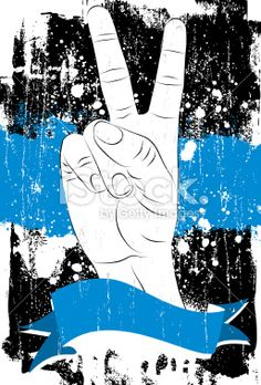 two fingers for peace with blue banner Royalty Free Stock Vector Art Illustration