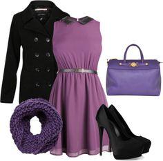 """""""Purple and Black!"""" by alinaaaaaaaa ❤ liked on Polyvore"""