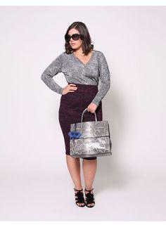 Christian Siriano Plus Size Boucle Pencil Skirt (plus size) #plussizefashion #dress
