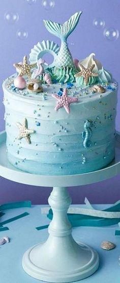 16 Ideas birthday cake mermaid parties food - Judy E. Mermaid Party Food, Mermaid Birthday Cakes, Mermaid Parties, Birthday Cake Girls, Birthday Ideas, 7th Birthday, Beach Birthday Cakes, Pretty Cakes, Cute Cakes