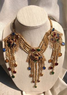 Vintage Miriam Haskell Necklace Gold Tone Murano Glass Beaded Signed Amazing!!! #MiriamHaskell