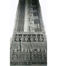 Black White Pure Handloom Kalamkari Cotton Saree