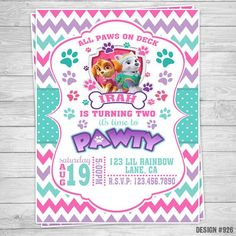 Birthday Party Outfits, 3rd Birthday Parties, 2nd Birthday, Paw Patrol Party Invitations, Custom Party Invitations, Everest Paw Patrol, Girl Paw Patrol Party, Paw Patrol Decorations, Cumple Paw Patrol