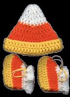 Candy corn crochet hat and booties pattern. I only made the hat but it was perfect. Excellent pattern.