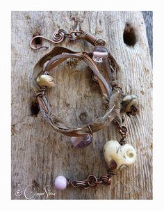 Monsoon Wrap Bracelet 18€ #jewellery #jewelry #lampwork #wirework #handmade