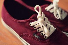 Red velvet and cream coloured vans :D