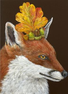 Vicki Sawyer original artwork at Lark & Key Gallery, Charlotte NC. Whimsical, humorous paintings inspired by the natural world - birds and other animals with hats and masks made of flora and fauna. Botanical Illustration, Illustration Art, Cross Stitch Games, Fox Art, Pet Costumes, Animal Sketches, Needlepoint Canvases, Creative Portraits, Mural Art