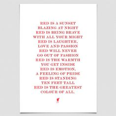 Red Poem Liverpool Football Club Print Size by LiverpoolPrints, Soccer Stadium, Liverpool Football Club, Liverpool Fc, Liverpool Tattoo, This Is Anfield, Free Football, You'll Never Walk Alone, European Cup, Steven Gerrard