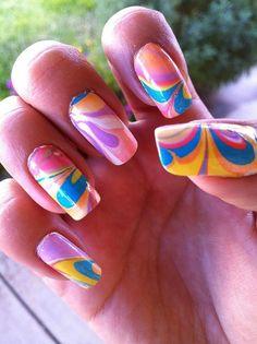 nail art, nails, #NailCall water marble design