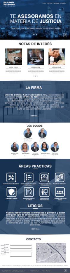 Sitio Web diseñado para importante firma de abogados. Diseño. Ramón Carrillo Agencia. DABmedia. Link. http://www.diezdebonilla-kuri.com.mx/