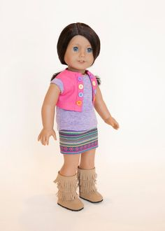 American Girl Doll clothes - skirt, t-shirt, and vest outfit on Etsy, $24.00