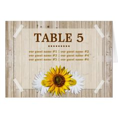 Rustic Country Sunflower Wedding Table Card
