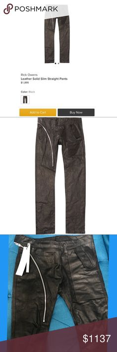 Rick Ownes Men's Zipped Leather Pants. It's a brand new ( with tags ) Black Leather Pants from Rick Ownes. Retail: $1,895 Now i'm offer 40% off from original prices.$1,137 if you buy multi items in my closet then i'm willing to negotiate on price or give you multi discount. Thanks for interesting and checking out my closet. Rick Owens Pants