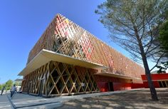 At the site of domaine of o. in Montpellier (FR) stands the 'jean-claude carrière theatre' designed by A+Architecture. the bold, vibrant culture box. Montpellier, Theatre Architecture, Facade Architecture, Ideas Mancave, Jean Yves, Lecture Theatre, Main Entrance, Teen Room Decor, Claude
