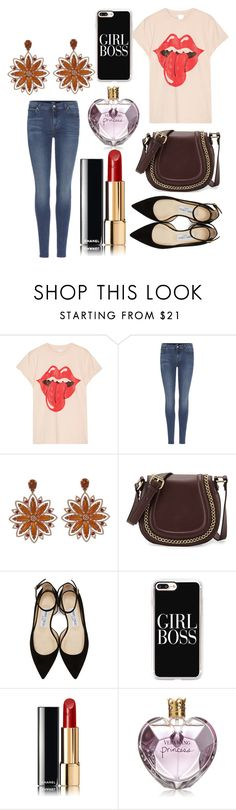 """""""Untitled #9381"""" by ohnadine ❤ liked on Polyvore featuring MadeWorn, 7 For All Mankind, Carla Amorim, French Connection, Jimmy Choo, Casetify, Chanel and Vera Wang"""