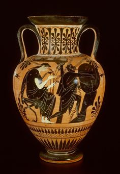Attic black-figure neck- amphora. Sisyphos pushing his rock up the hill for eternity. He is accompanied by Persephone who is seated in her Hades-palace in the underworld. The palace is indicated by...