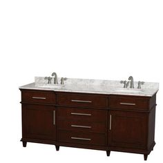 "Wyndham Collection Berkeley 72"" Dark Chestnut Double Bathroom Vanity with UM Oval Sinks (No Mirror) at Menards®: Wyndham Collection Berkeley 72"" Dark Chestnut Double Bathroom Vanity with UM Oval Sinks (No Mirror)"