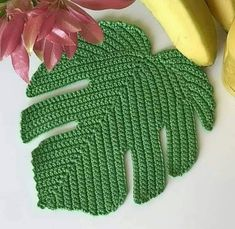 A) 25 Beginner Knitting Projects Knitting can be intimidating if you've never done it before, but th Crochet Kitchen, Crochet Home, Irish Crochet, Diy Crochet, Appliques Au Crochet, Crochet Leaf Patterns, Crochet Designs, Crochet Sunflower, Crochet Leaves