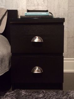 Ikea Malm nightstand hack. Added industrial style pull handles.