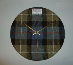 Large HARRIS TWEED Covered Wall Clock - Handmade to Order in the Outer Hebrides